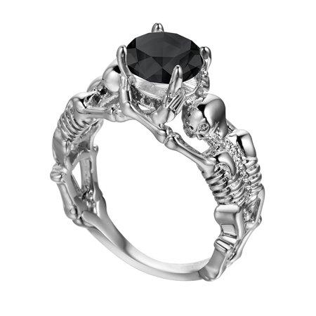 Skeletons Goth Biker Chick Black Cubic Zirconia Engagement Wedding Ring
