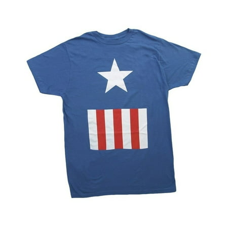 Captain America Suit Fitted Royal Blue Adult T-Shirt](Captain America Adult)