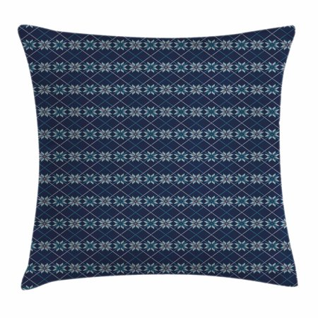 Nordic Throw Pillow Cushion Cover, Festive Winter Holiday Fair Isle Pattern Digital Print Snowflakes, Decorative Square Accent Pillow Case, 18 X 18 Inches, Navy Blue Pale Blue and White, by