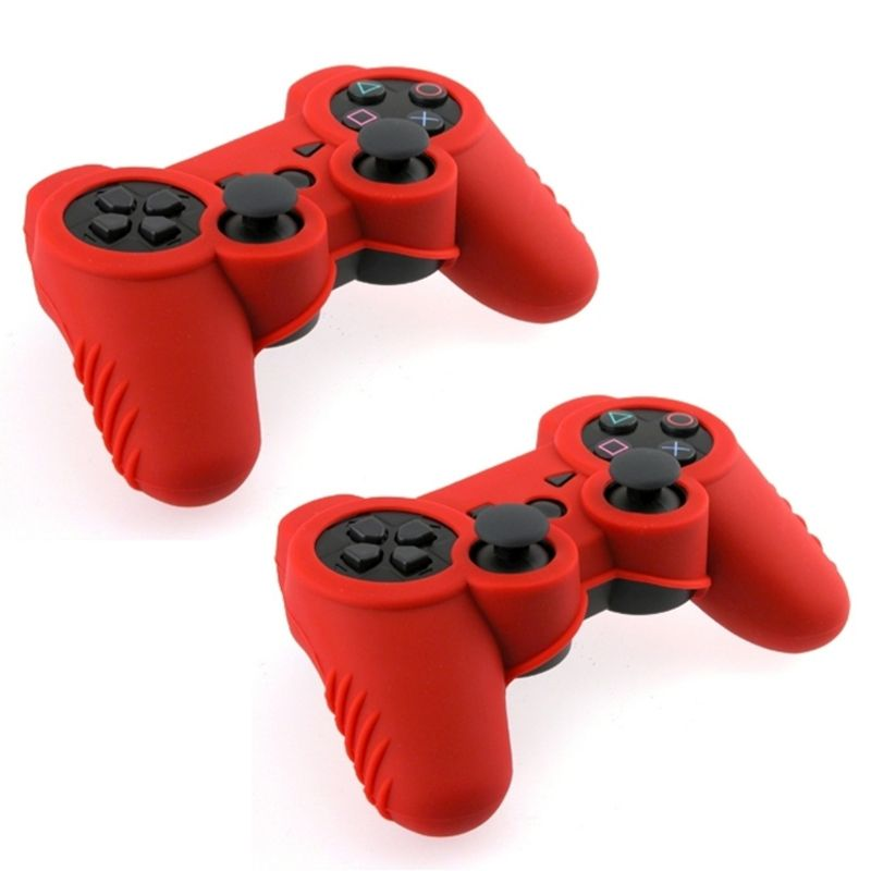 Insten Red Soft Silicone Skin Case (2 Pack) For Sony PS3 Controller
