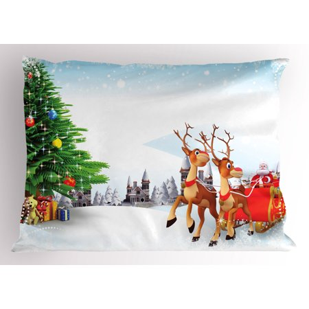 Christmas Tree Cartoon (Santa Pillow Sham Snow Covered Christmas Village with Cartoon Santa on His Sleigh Big Tree and Boxes, Decorative Standard Size Printed Pillowcase, 26 X 20 Inches, Multicolor, by)