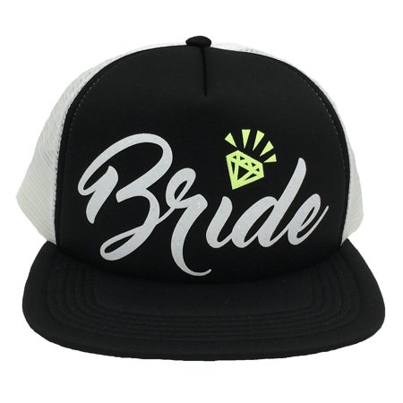 f6a4680562763 Bachelorette Party Bride Tribe Mesh Trucker Snap Back Hat (Black Hat White  Mesh
