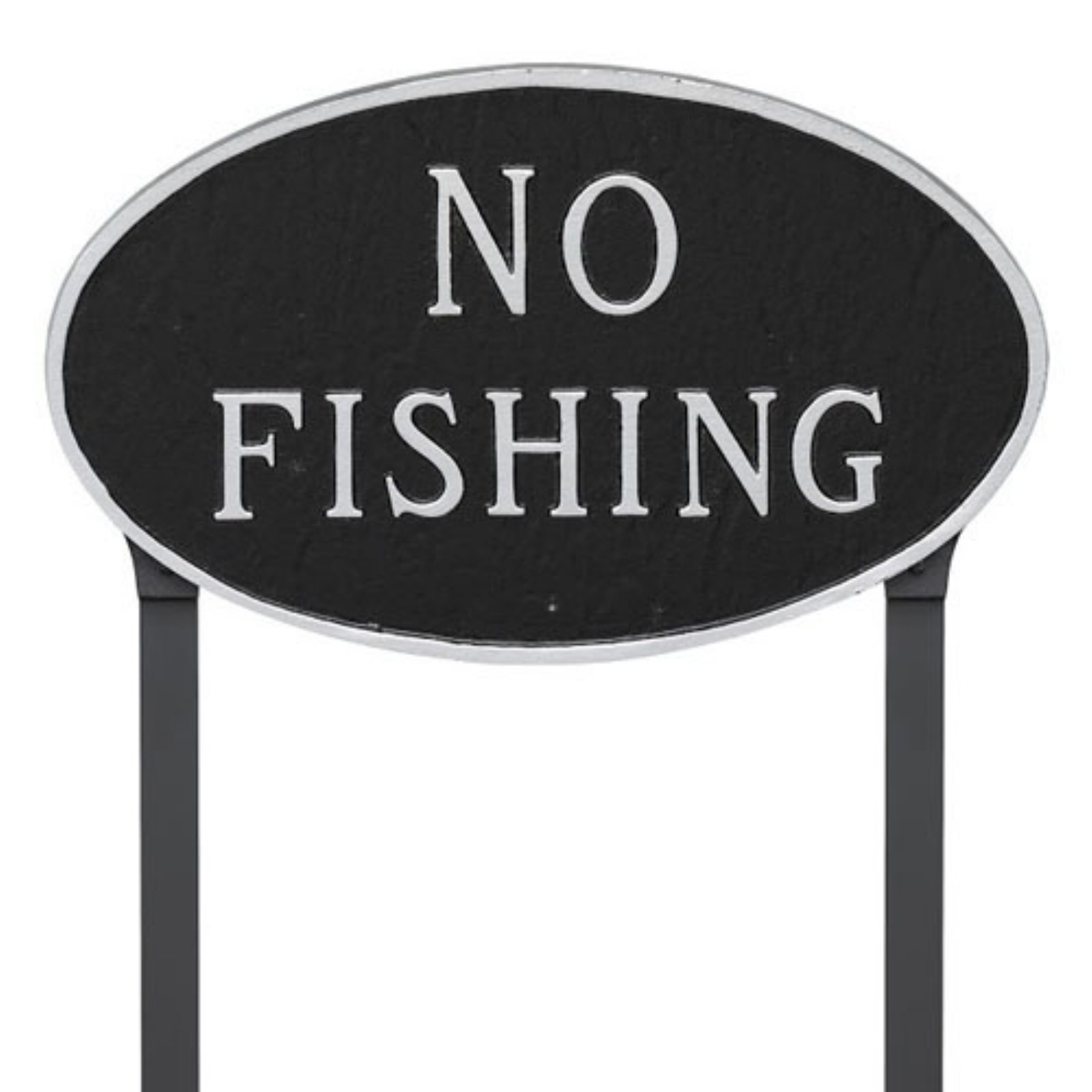 Montague Metal Products No Fishing Oval Lawn Plaque by