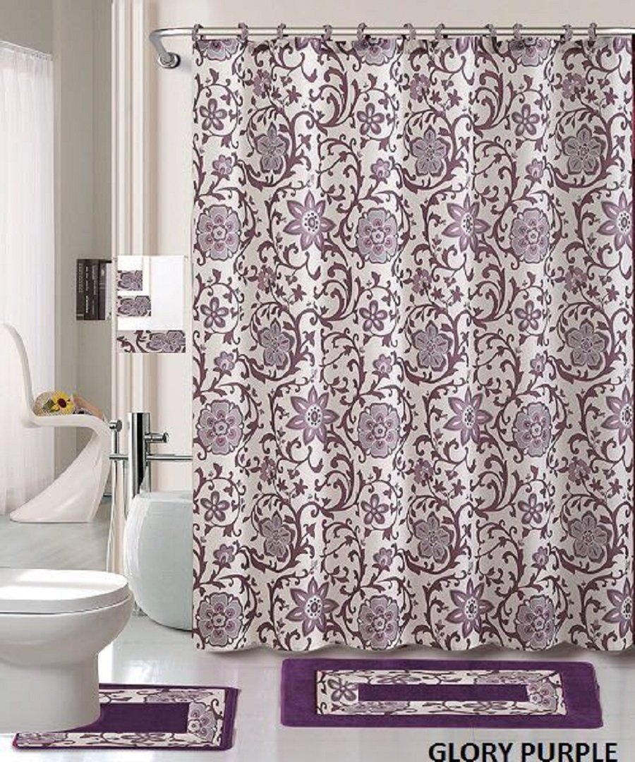 18 Piece Bath Rug Set Lavender Purple Silver Grey Print Bathroom Rugs Shower Curtain Rings And Towels Sets Glory Purple Walmart Com Walmart Com