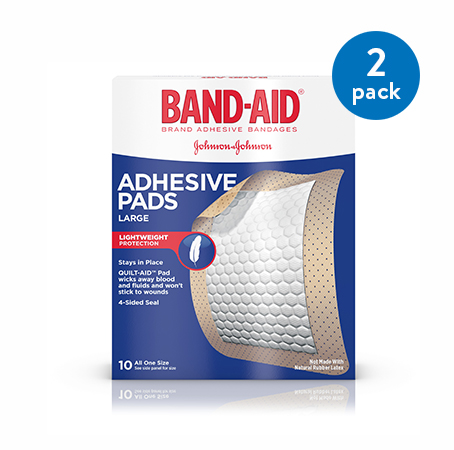 (2 Pack) Band-Aid Brand Adhesive Pads, Large Bandages for Wound Care, 10 ct