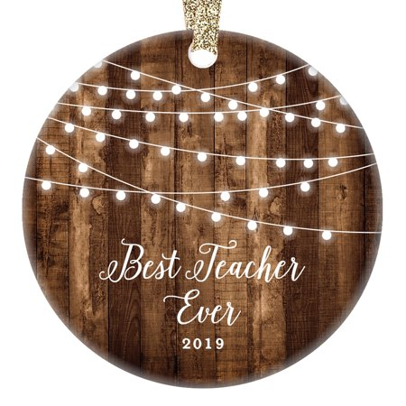 Teacher Gifts 2019, Best Teacher Ever Christmas Ornament Xmas Dated Farmhouse Present from School Student Girl Boy for TA Assistant 3