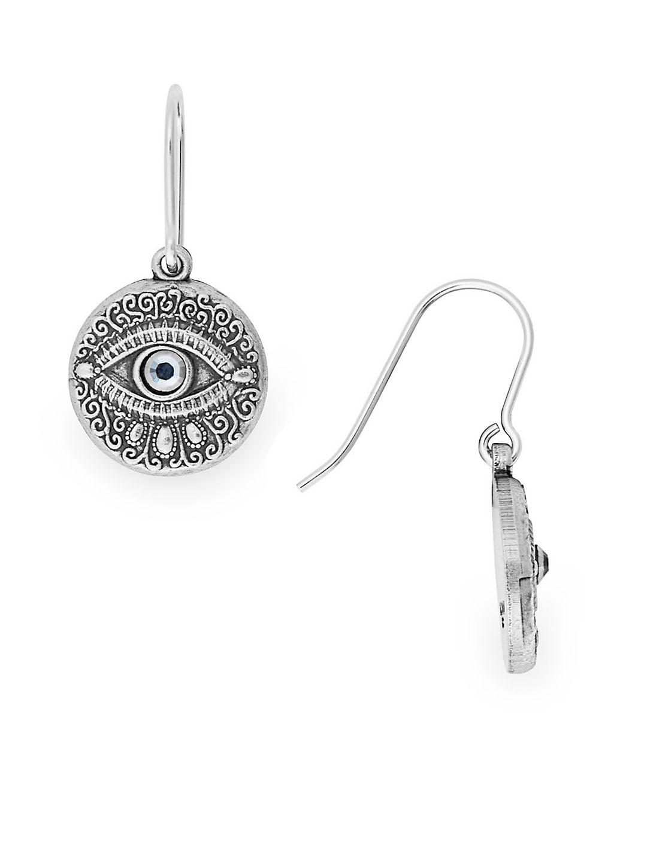 Crystal and Sterling Silver Textured Evil Eye Hook Earrings