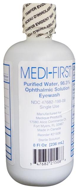 Medi-First 98.3% Ophthalmic Solution Eyewash 8 oz Bottle by