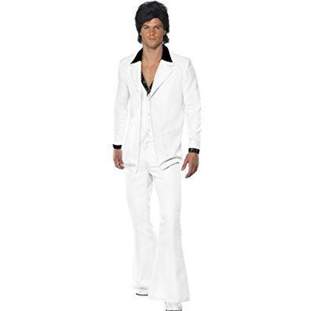 smiffy's men's 1970's suit costume jacket with mock shirt and waistcoat trousers, white, large - 1970 Suits For Sale