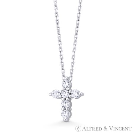 Round Brilliant Cubic Zirconia Crystal Cross Charm Pendant in .925 Sterling Silver Brilliant Crystal Jewelry
