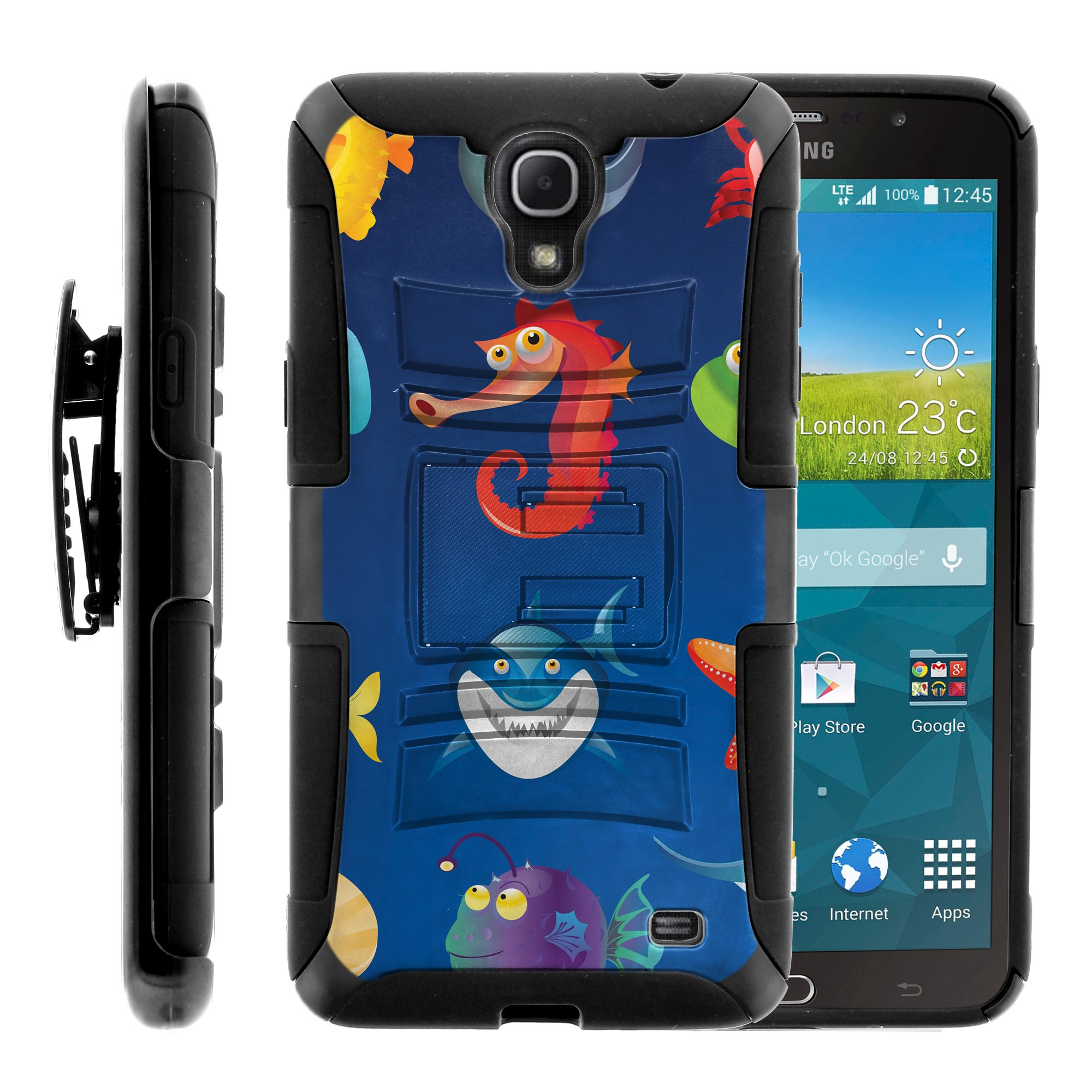 TurtleArmor ® | For Samsung Galaxy Mega 2 [Hyper Shock] Hybrid Dual Layer Armor Holster Belt Clip Case Kickstand - Cute Sea Animals