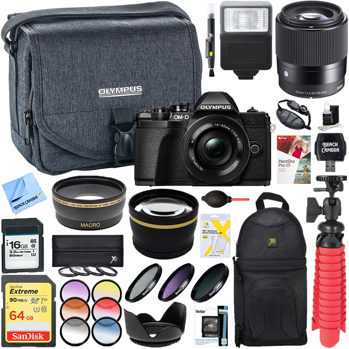 Olympus OM-D E-M10 Mark III Mirrorless Digital Camera (Black) with 14-42mm EZ & Sigma 30mm Lens Deluxe... by Olympus