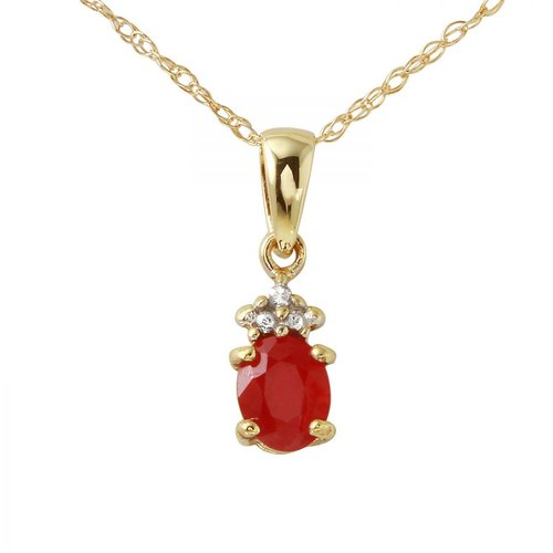 Foreli 0.36CTW Ruby And Diamond 10k Yellow Gold Necklace by Generic