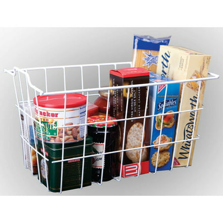 Panama Storage - Panacea 40604 White Vinyl Coated Wire Storage Basket