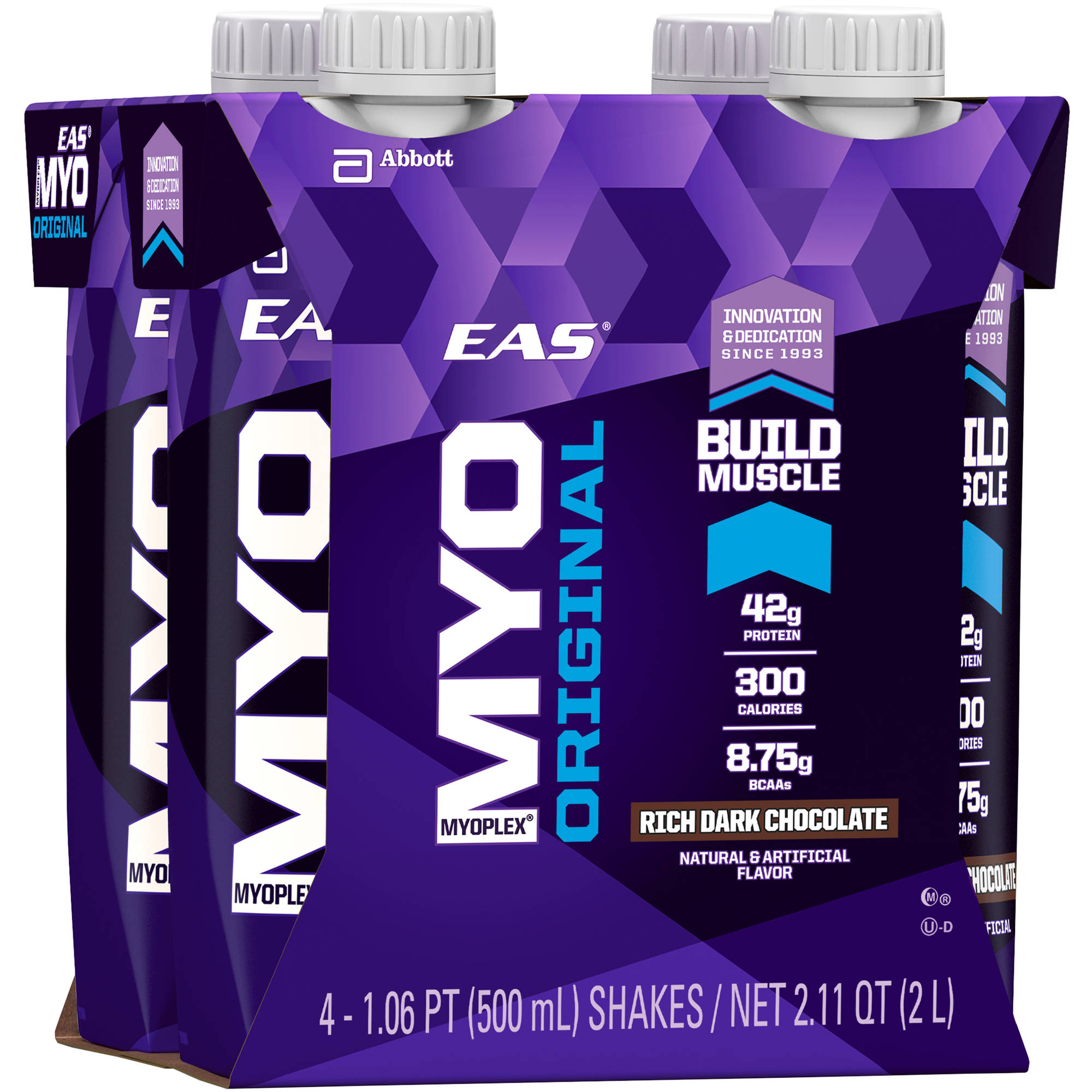EAS Myoplex Original Ready-to-Drink Nutrition Shake, Rich Dark Chocolate, 500 mL (3-4 Packs)