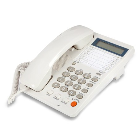 White Caller ID Phone for wall or desk with Speaker and Memory Classic Design Desk Phone