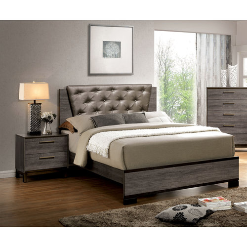Furniture of America Althea 2-Piece Gray Bedroom Set, Multiple Sizes