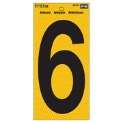 "Address Number, Reflective Yellow & Black, 5-In., ""6"""