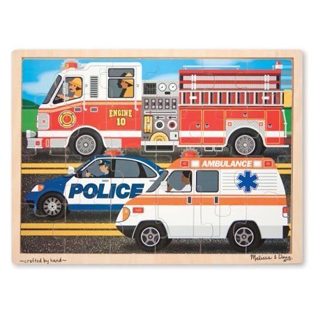 Melissa & Doug To the Rescue! Wooden Jigsaw Puzzle - Rescue Vehicles (24 - Doug Vehicles Jigsaw Puzzles