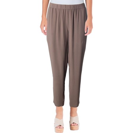 Eileen Fisher Womens Petites Silk Crepe Ankle Pants