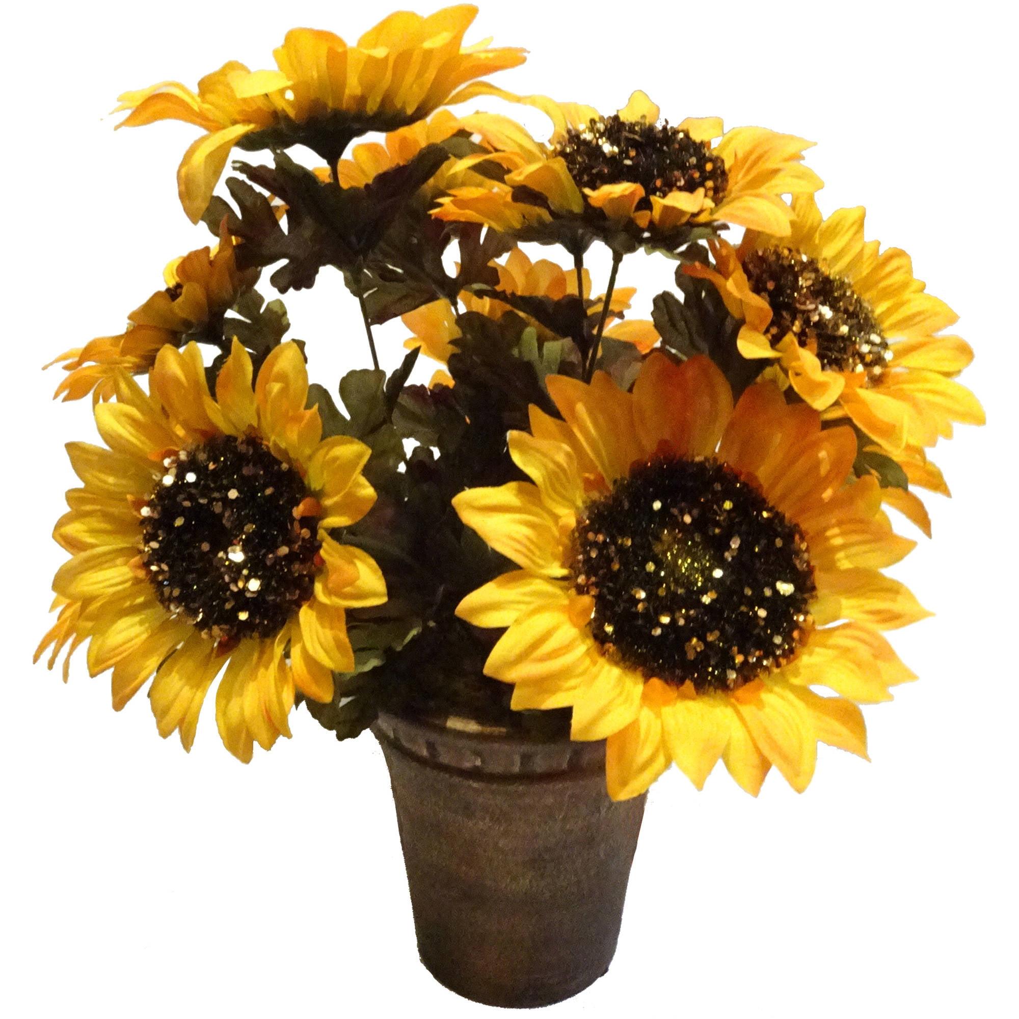 Yellow Glitter Sunflower Pot