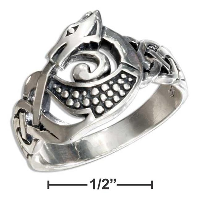 P-017345-10 10 in. Sterling Silver Celtic Dragon Ring - image 1 of 1