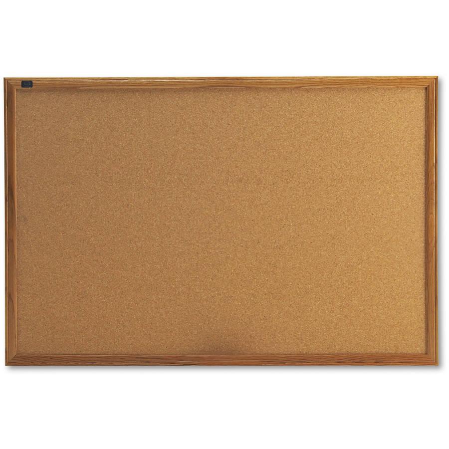Quartet Cork-Over-Fiberboard Bulletin Board, Natural Oak Frame