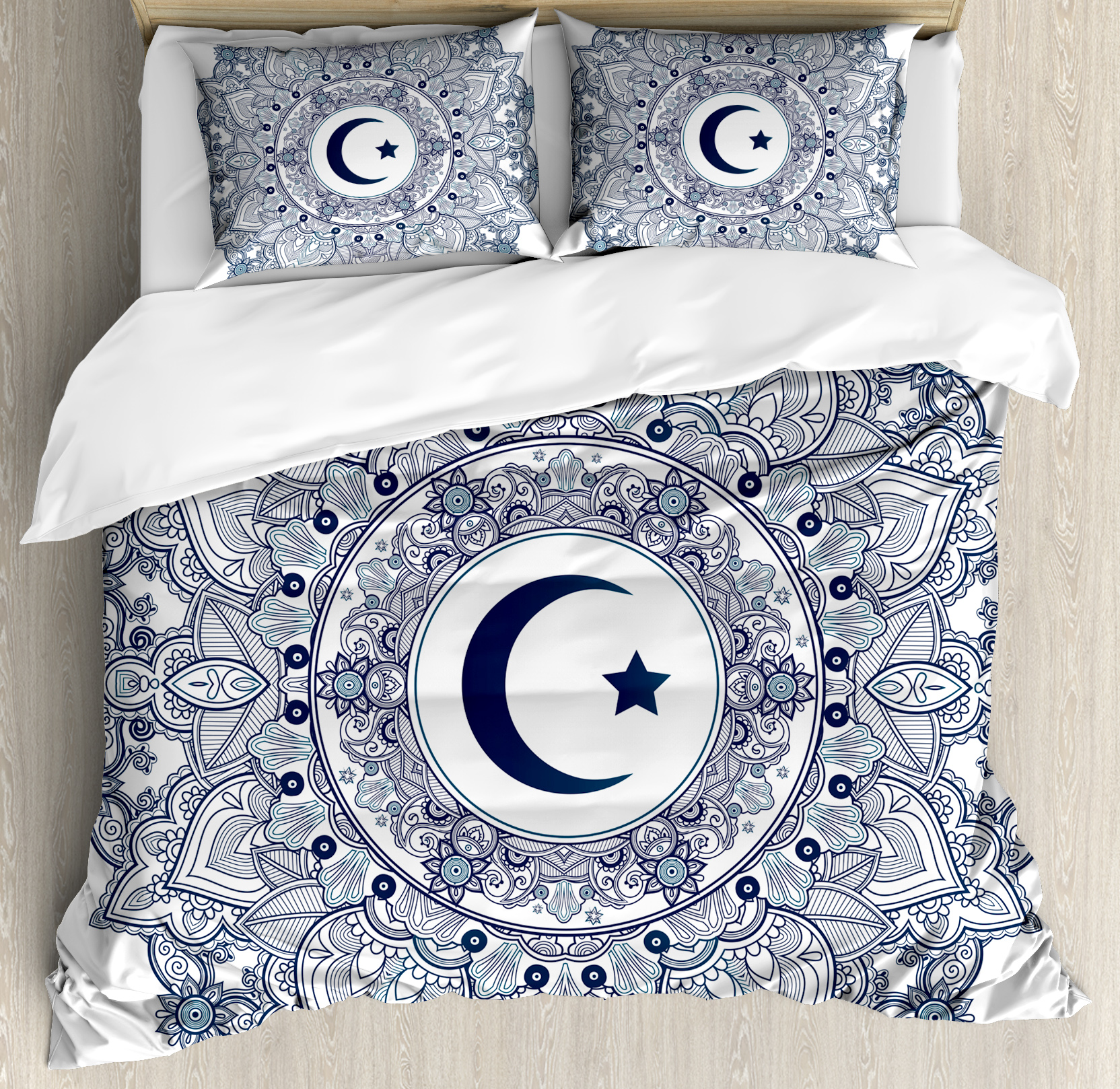 Moon Queen Size Duvet Cover Set, Islamic Symbol in Eastern Design Ramadan... from Ramadan Decorations