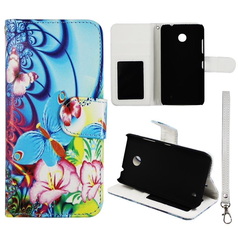 Pink Flower Butterfly Wallet Folio Case for Nokia 630 635 Fashion Flip PU Leather Cover Card ID Card Slots & Stand