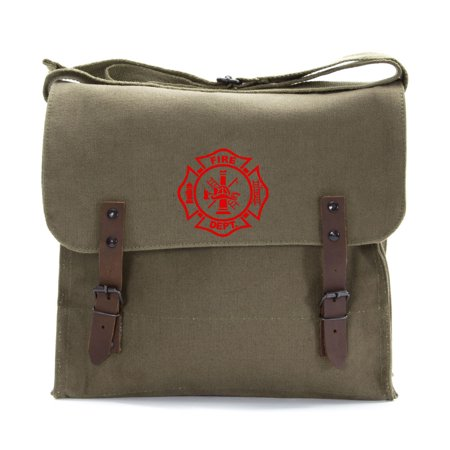 Fire Department Maltese Cross Army Heavyweight Canvas Medic Shoulder Bag Fire Department Bag
