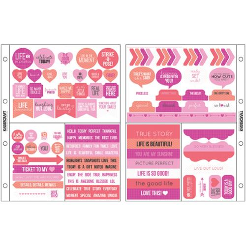 "Captured Moments Pocket Scrapbooking Stickers 6.75""X8.5""-Raspberry"