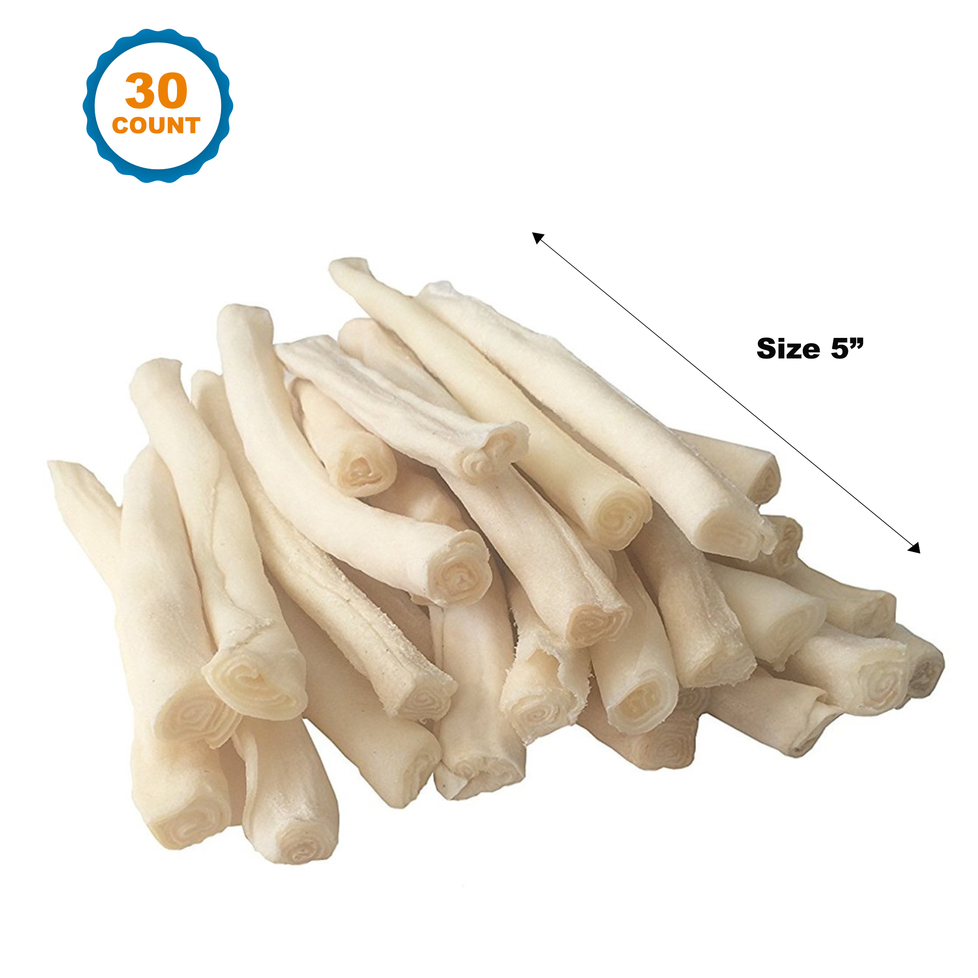 Rawhide Natural Skinny Roll Stick For Dogs - 30 Count | 5"