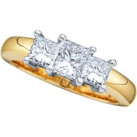 14K Yellow Gold Two Tone 0.75ctw Shiny 3 Stone Set Diamond Princess Fashion Ring