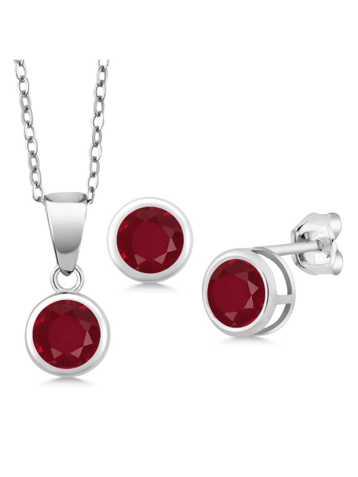 1.65 Ct Round Red Ruby 925 Sterling Silver Pendant Earrings Set With Chain by