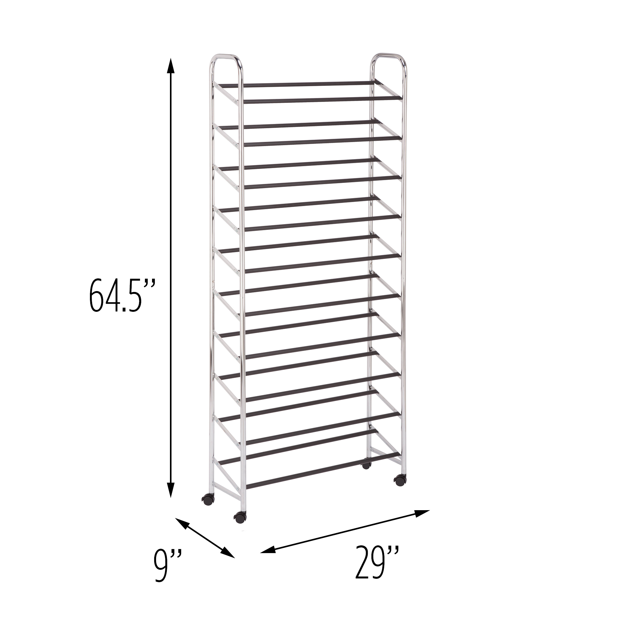 Honey Can Do 50-Pair Steel Rolling Shoe Tower, Chrome