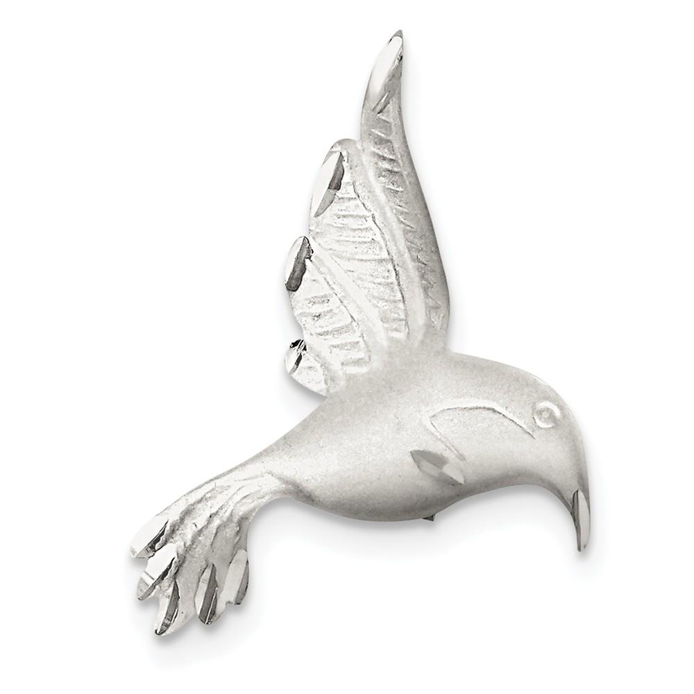 Sterling Silver Satin Finish Diamond Cut Hummingbird Pin by