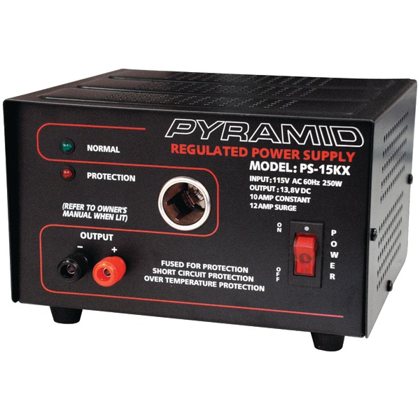 Pyramid PS15K 10-Amp 13.8-Volt Power Supply with Car-Char...