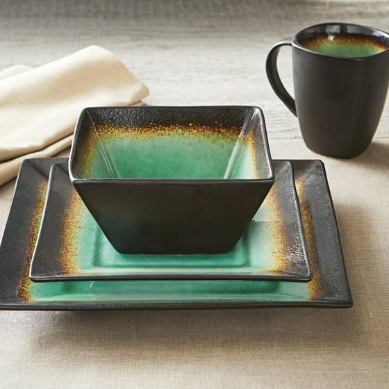 Better Homes and Gardens Jade Crackle 16-Piece Dinnerware Set ...