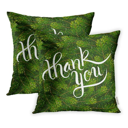 BSDHOME Holiday Hand Lettering Thank You on Christmas Fir Tree Branches Pillow Case Pillow Cover 16x16 inch Set of 2 - image 1 of 1