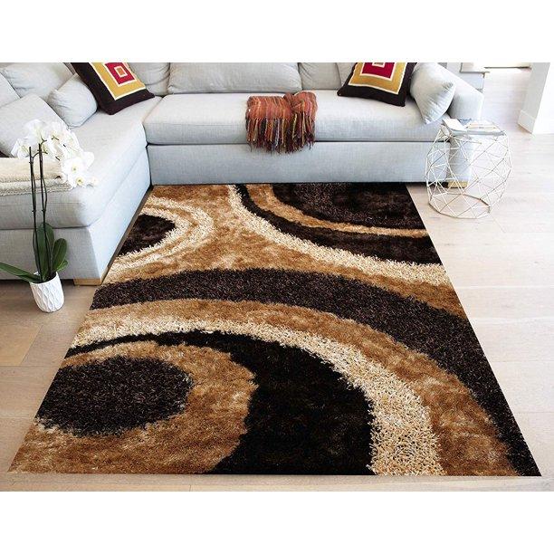 3d Shimmer Shag Light Brown Dark Brown Chocolate Beige Tan Gold Area Rug Carpet Hand Tufted Handmade 8 Ft X 10 Ft Large Walmart Com Walmart Com