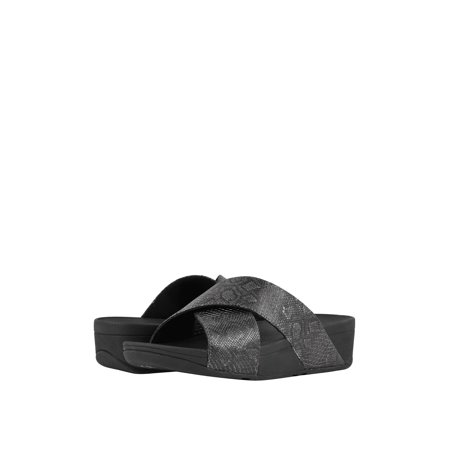 Fitflop Lulu Python Cross Slide Women's Leather Sandals (Python Leather)