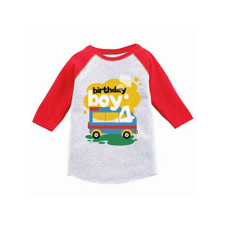 Awkward Styles Toy Truck Birthday Boy Toddler Raglan 4th Jersey Shirt Boys Party Outfit Fourth Gifts For 4 Year Old