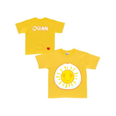 Personalized Care Bears Funshine Bear Belly Badge Youth Yellow T-Shirt