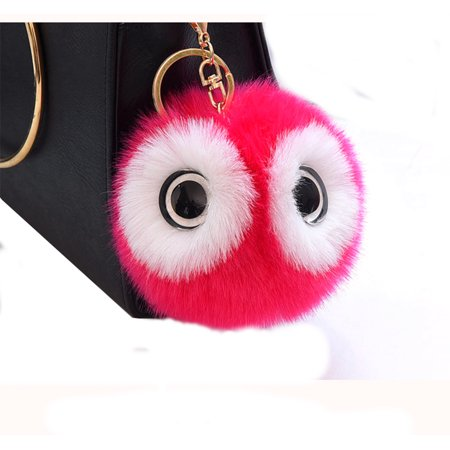 Animal Owl Key Chain Ring Pendant Pom Pom Faux Rabbit Fur Ball Bird Handbag Keychain Toy-OWL-kc](Real Rabbit's Foot Keychain)