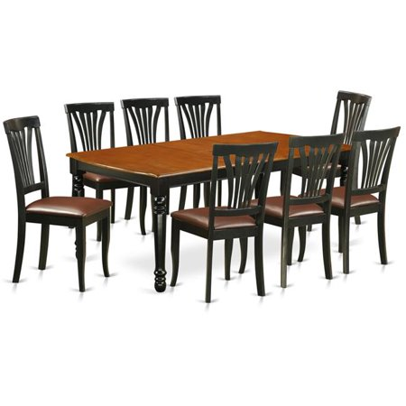East West Furniture DOAV9-BCH-LC 9 PC kitchen tables and chair set with one  Dover dining table and 8 kitchen chairs in a Black and Cherry ...