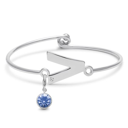 Charm Baby Bangle (Initial Bangle Bracelet With White Crystal and Tanzanite Crystal Birthstone, For December Babies)