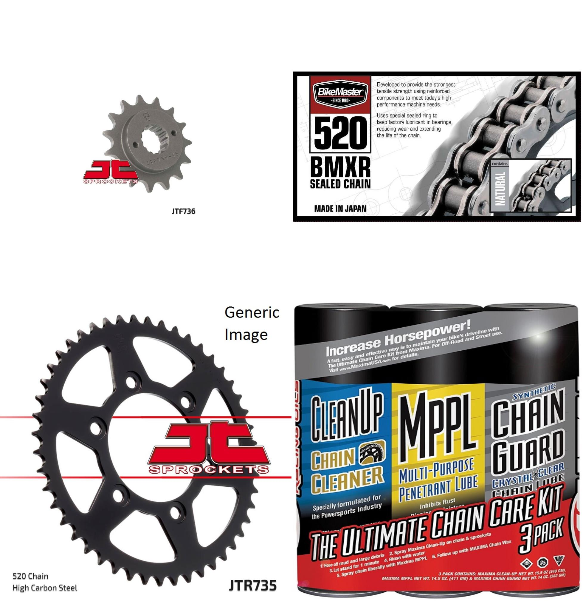 BIKEMASTER 520 BMXR Sealed Chain Natural with MAXIMA Wax, JT Front & Rear Sprocket Kit for Street DUCATI 750 SS 2000-2002