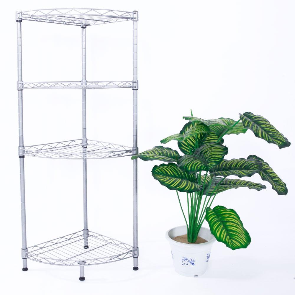 Zimtown Corner Storage Rack 4 Tier Rack Shelf Wire Shelving Garage Kitchen Bathroom Home