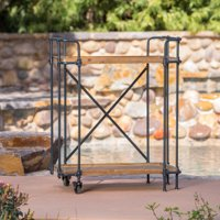 Maraka Outdoor Antique Finish Firwood and Iron Bar Cart