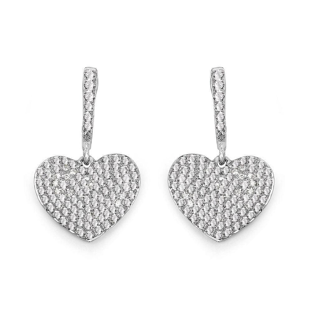 Olivia Leone  14k White Gold 7/8ct TDW White Diamond Heart Earrings